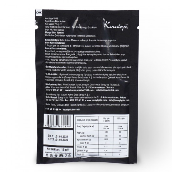 Kocatepe Kahve Filtre Kahve Tek İçimlik 15 gr X 24