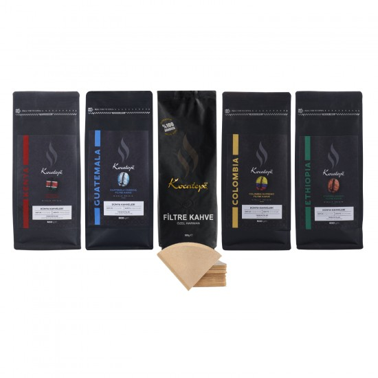 Kocatepe Kahve Dünya Kahveleri Seti 500 Gr (Kenya, Colombia, Ethiopia, Guatemala, Filtre Kahve) + 40'lı Filtre Kahve Kağıdı Hediyeli